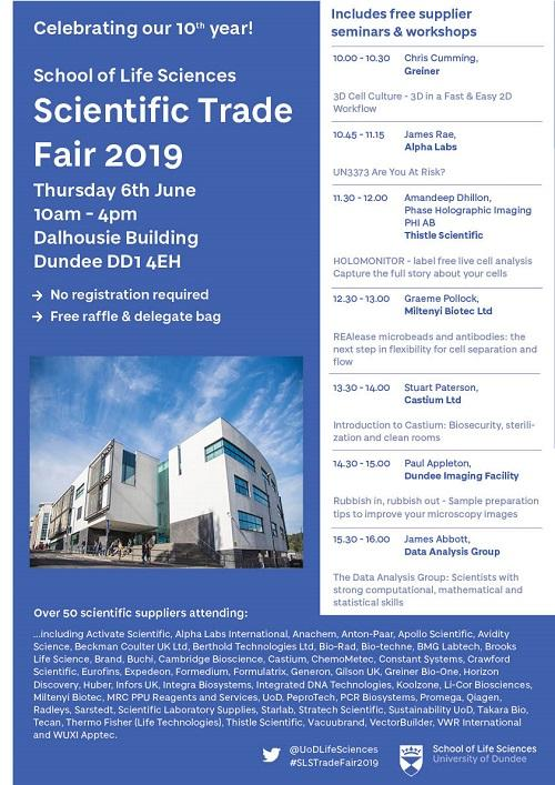 School of Life Sciences Trade Fair 6th June 2019 | Welcome to Bio-Dundee